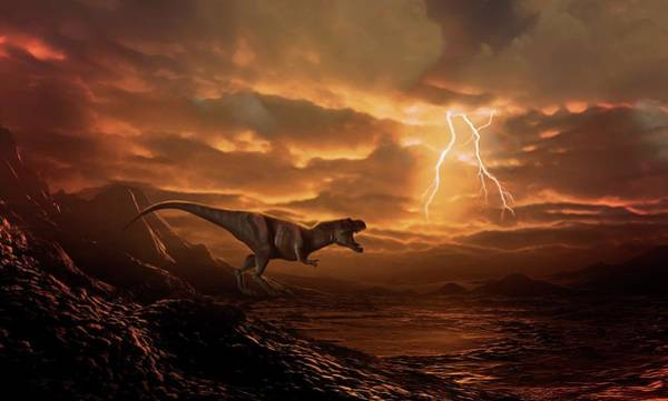 Wall Art - Photograph - Tyrannosaur Surveying Desolate Landscape by Mark Garlick/science Photo Library