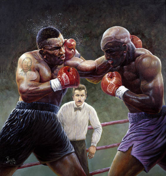 Bite Wall Art - Painting - Tyson/holyfield by Gregory Perillo