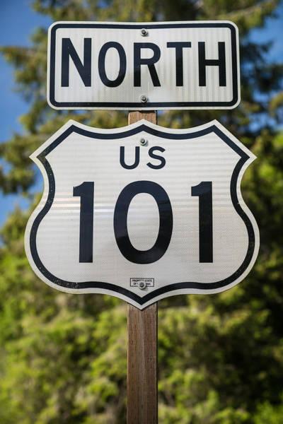 Wall Art - Photograph - U S 101 Sign California by Steve Gadomski