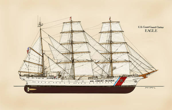 Tall Ships Wall Art - Drawing - U. S. Coast Guard Cutter Eagle - Color by Jerry McElroy