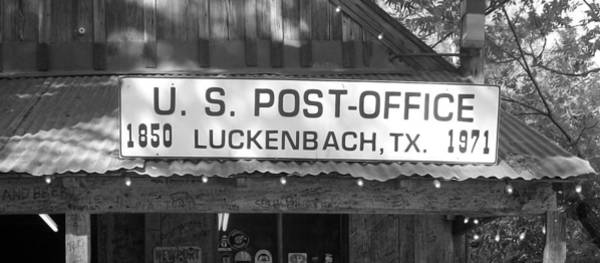 Sullivan County Photograph - U S Post Office Luckenbach Texas Sign Bw by Elizabeth Sullivan