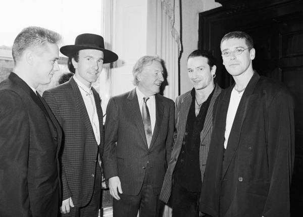 U2 Photograph - U2 Meet Taoiseach Charles Haughey by Irish Photo Archive
