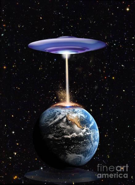 Photograph - Ufo Attacks Earth by Mike Agliolo