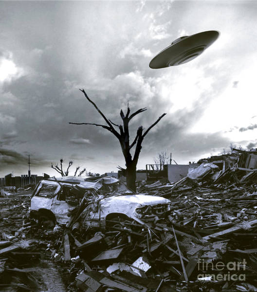 Photograph - Ufo Circling Above A Junkyard by Mike Agliolo