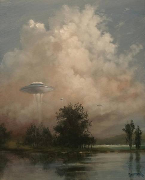Abduction Wall Art - Painting - Ufo's - A Scouting Party by Tom Shropshire