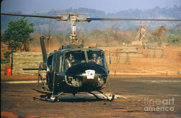 Photograph - Uh-1 Huey Iroquois Helicopter Lz Oasis Vietnam 1968 by California Views Archives Mr Pat Hathaway Archives