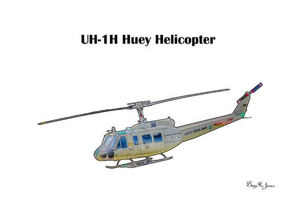 Digital Art - Uh-ih Huey Helicopter by Barry Jones