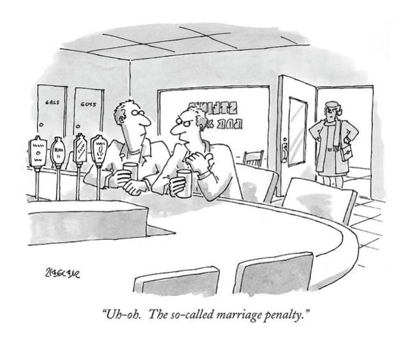 Taxes Drawing - Uh-oh.  The So-called Marriage Penalty by Jack Ziegler