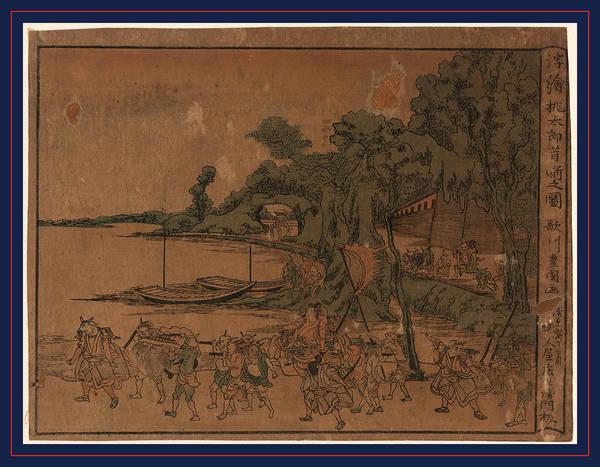 Litter Drawing - Ukie Momotaro Mukashibanashi No Zu by Utagawa, Toyokuni (1769-1825), Japanese