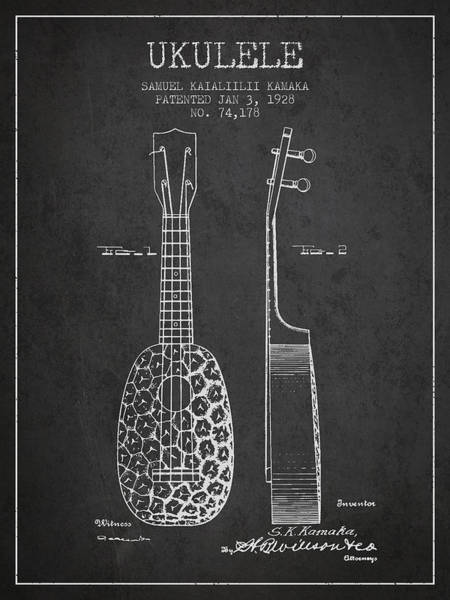 Country Living Digital Art - Ukulele Patent Drawing From 1928 - Dark by Aged Pixel