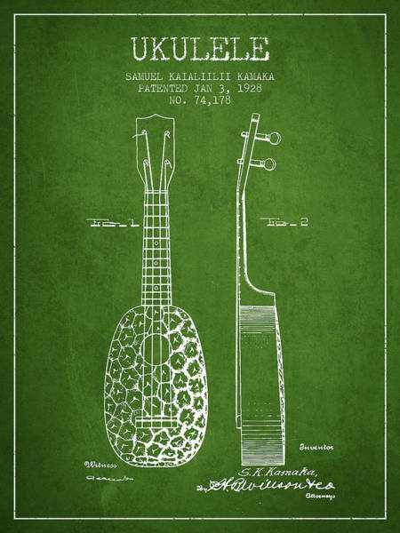 Country Living Digital Art - Ukulele Patent Drawing From 1928 - Green by Aged Pixel