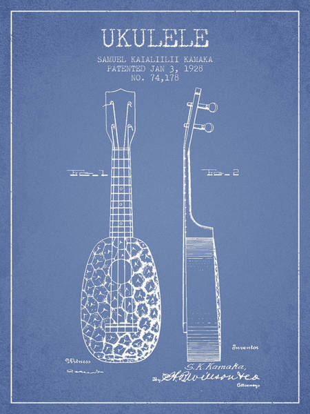 Country Living Digital Art - Ukulele Patent Drawing From 1928 - Light Blue by Aged Pixel