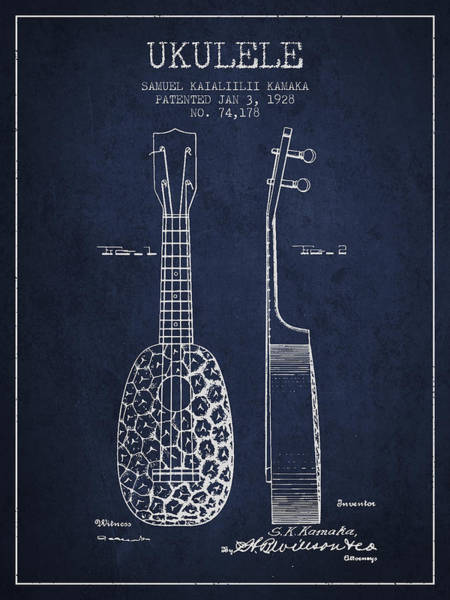 Country Living Digital Art - Ukulele Patent Drawing From 1928 - Navy Blue by Aged Pixel