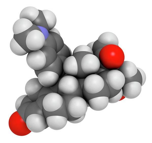 3d Model Photograph - Ulipristal Acetate Contraceptive Drug by Molekuul