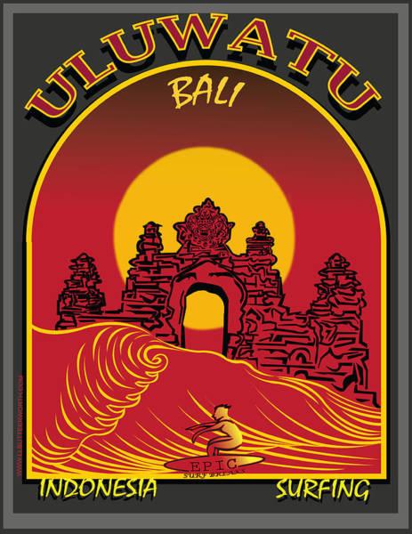 Wall Art - Digital Art - Surfing Ulumatu Bali Indonesia  by Larry Butterworth