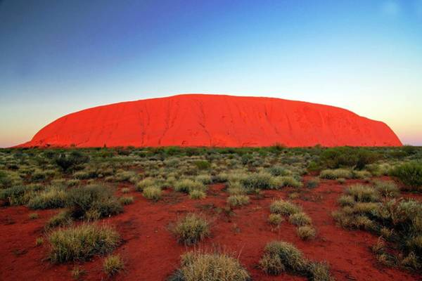 Geographical Wall Art - Photograph - Uluru (ayers Rock) At Sunrise by Bildagentur-online/mcphoto-schulz