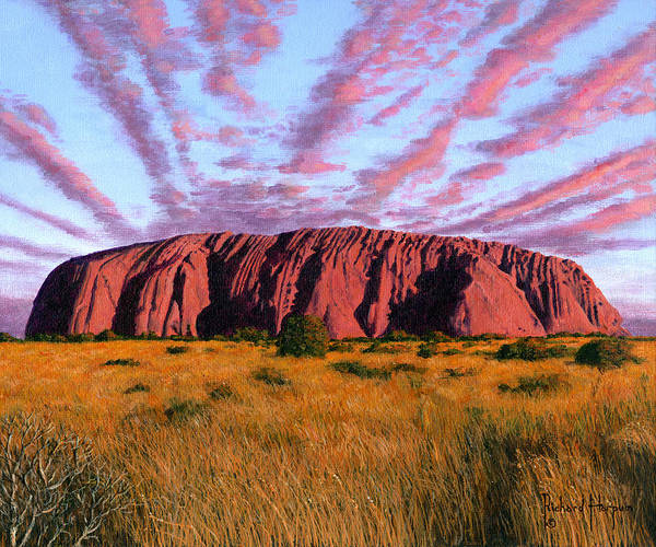 Aborigine Painting - Uluru Sunset Ayers Rock Central Australia by Richard Harpum