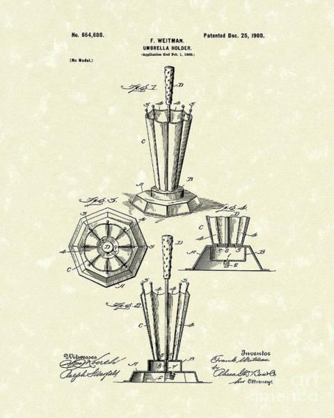 Drawing - Umbrella Holder 1900 Patent Art by Prior Art Design