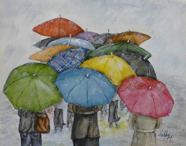 Walking In The Rain Wall Art - Painting - Umbrella Huddle by Kelly Mills