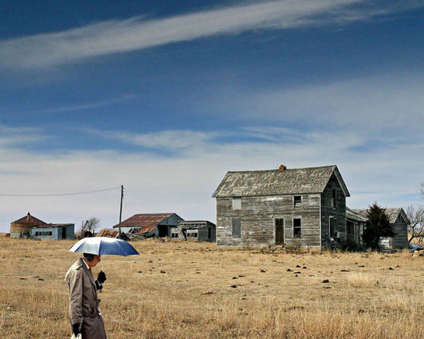 Ear Muffs Photograph - Umbrella Man In Kansas by Christopher McKenzie
