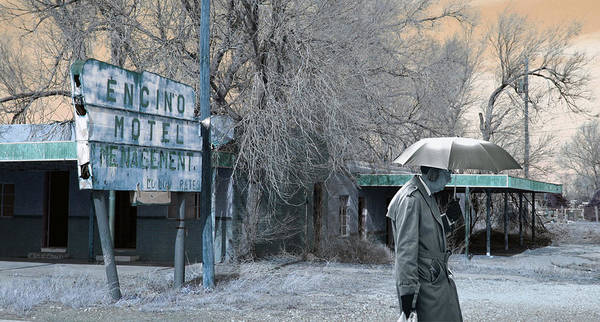 Ear Muffs Photograph - Umbrella Man And Encino Motel by Christopher McKenzie