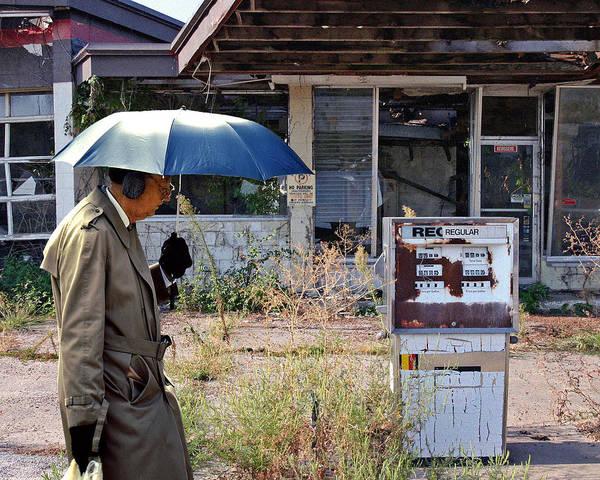 Ear Muffs Photograph - Umbrella Man And No Gas by Christopher McKenzie