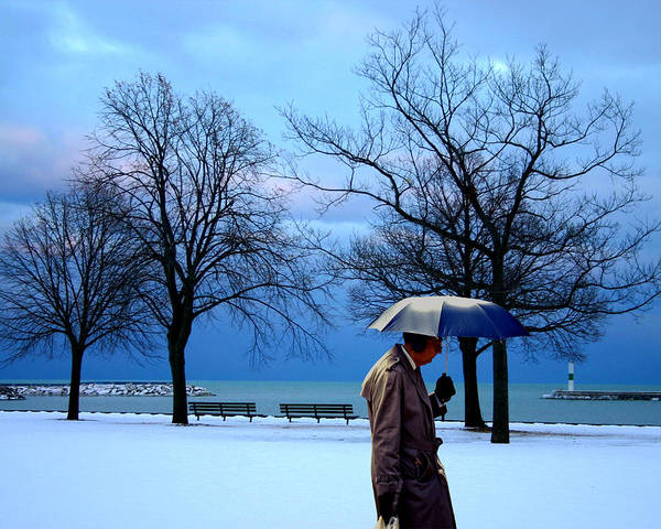 Ear Muffs Photograph - Umbrella Man At Lake Michigan Cold by Christopher McKenzie