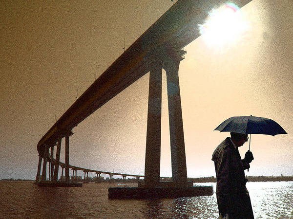 Ear Muffs Photograph - Umbrella Man In San Diego by Christopher McKenzie