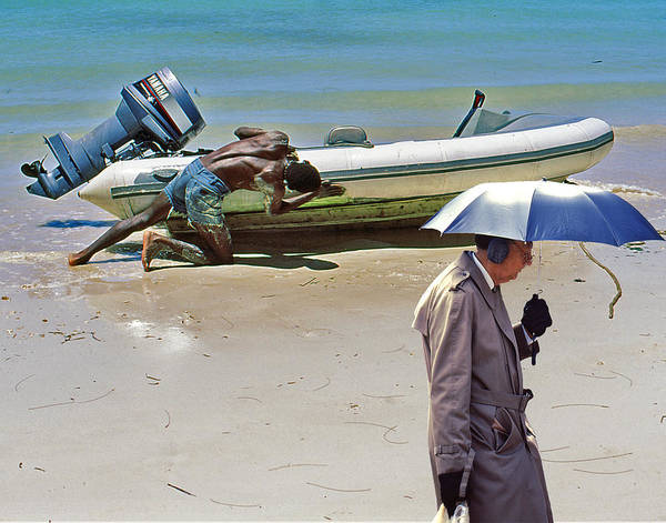 Ear Muffs Photograph - Umbrella Man In The Bahamas by Christopher McKenzie