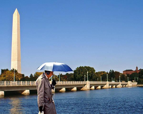 Ear Muffs Photograph - Umbrella Man In Washington by Christopher McKenzie