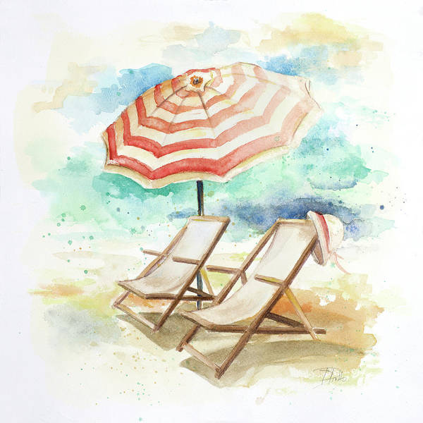 Chair Digital Art - Umbrella On The Beach I by Patricia Pinto
