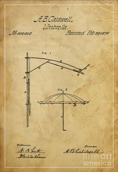 Patents Mixed Media - Umbrella Patent - A.b. Caldwell by Drawspots Illustrations