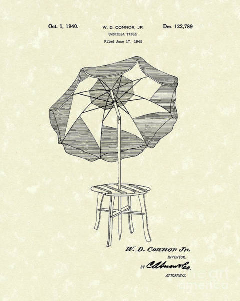 Wall Art - Drawing - Umbrella Table 1940 Patent Art by Prior Art Design