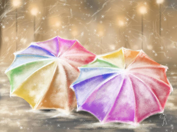 Frosty Digital Art - Umbrellas by Veronica Minozzi