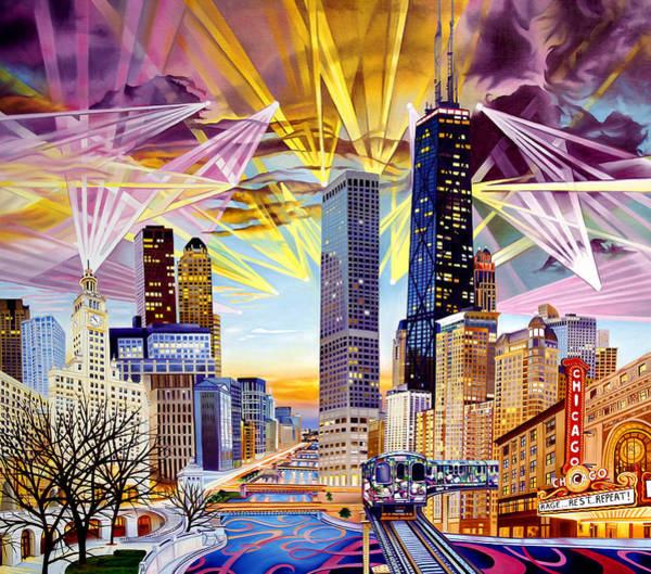 Wall Art - Painting - Umphrey's Mcgee-as The Lights Wrapped Around Chicago by Joshua Morton