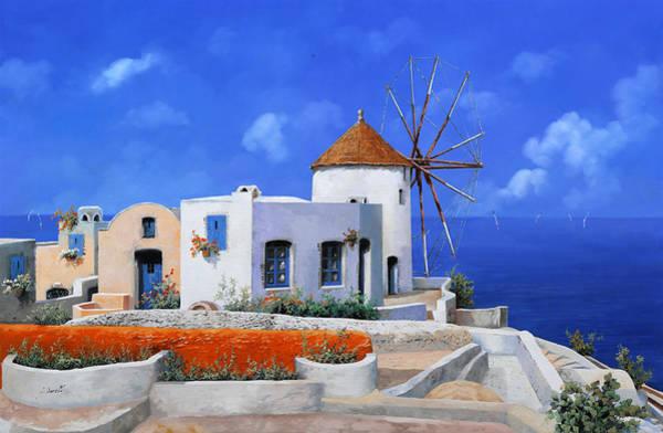 Greek Islands Wall Art - Painting - un mulino in Grecia by Guido Borelli