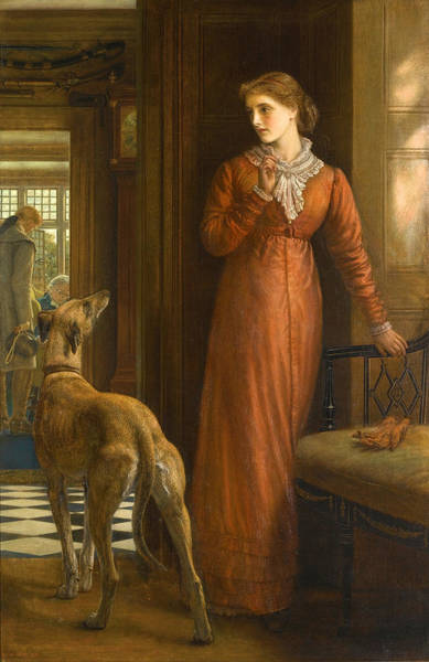 Elegant Dog Painting - Uncertainty by Arthur Hughes
