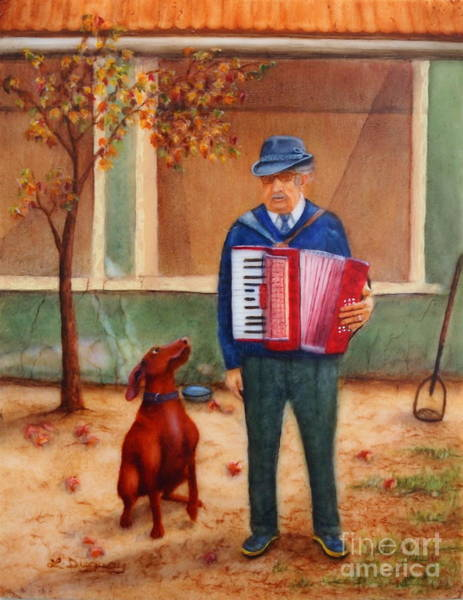 Painting - Uncle Ioan And Rocky In Romania by Lora Duguay