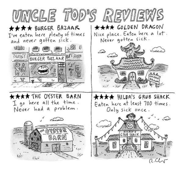 August 5th Drawing - Uncle Tod's Reviews by Roz Chast