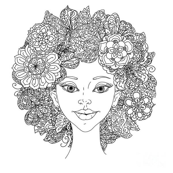 Uncolored Girlish Face For Adult Art Print by Mashabr