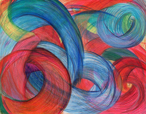 Mixed Colors Drawing - Uncovered Curves by Kelly K H B