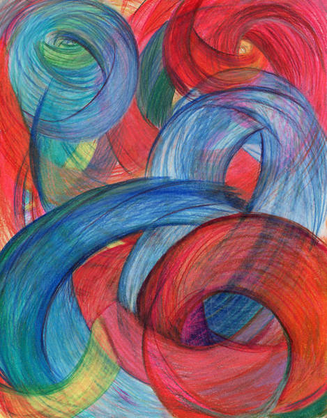 Mixed Colors Drawing - Uncovered Curves-vertical by Kelly K H B