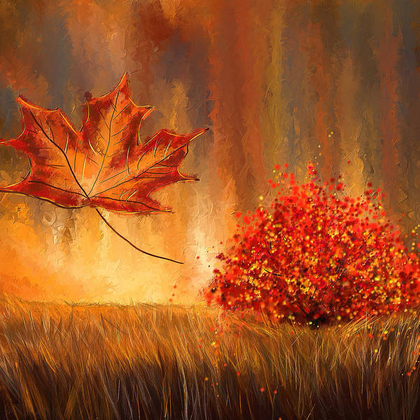 Lone Tree Painting - Undeniably Autumn- Autumn Impressionist Painting by Lourry Legarde