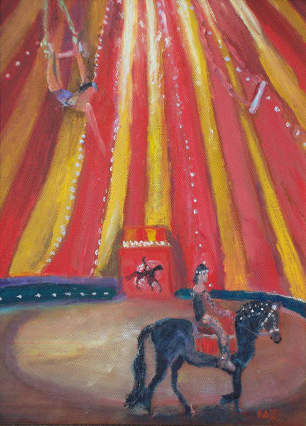 Trapeze Painting - Under The Big Top by Susan  Esbensen