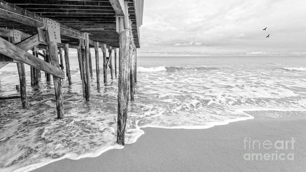 Photograph - Under The Boardwalk Black And White by Edward Fielding