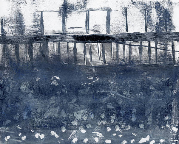 Mono Painting - Under The Pier Monoprint by Carol Leigh