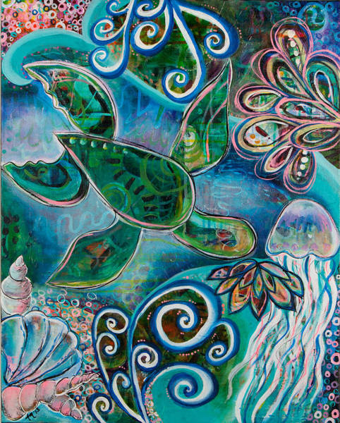 Turtle Painting - Under The Sea by Amber Malarsie Moritz