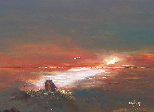 Painting - Under The Sunset by Miroslaw  Chelchowski