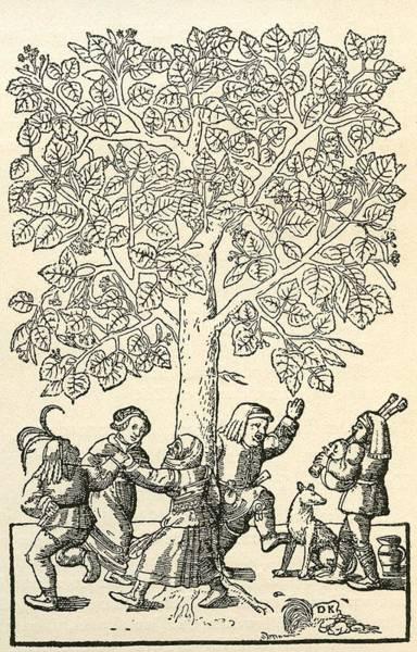 Folk Dances Photograph - Under The Village Linden Tree, After A 16th Century Engraving By  Kandel.  From Illustrierte by Bridgeman Images