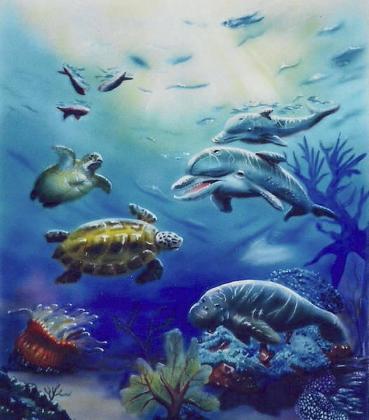 Painting - Under Water Antics by Thomas J Herring